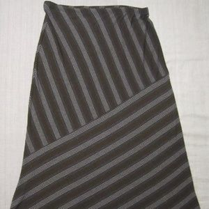 Matty M Skirt– Brown/Black/Gray Stripe Pattern